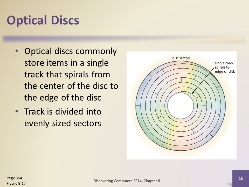 Optical Discs Optical discs commonly store items in a single track that spirals from the center of the disc to the edge of the disc Track is divided i