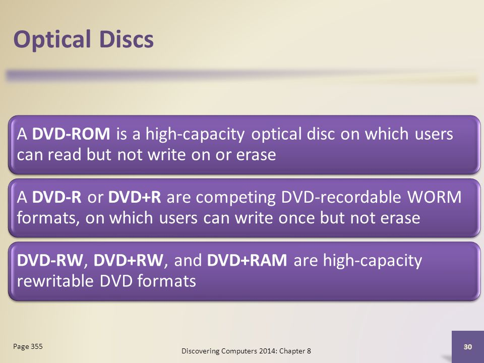 Optical Discs A DVD-ROM is a high-capacity optical disc on which users can read but not write on or erase A DVD-R or DVD+R are competing DVD-recordabl