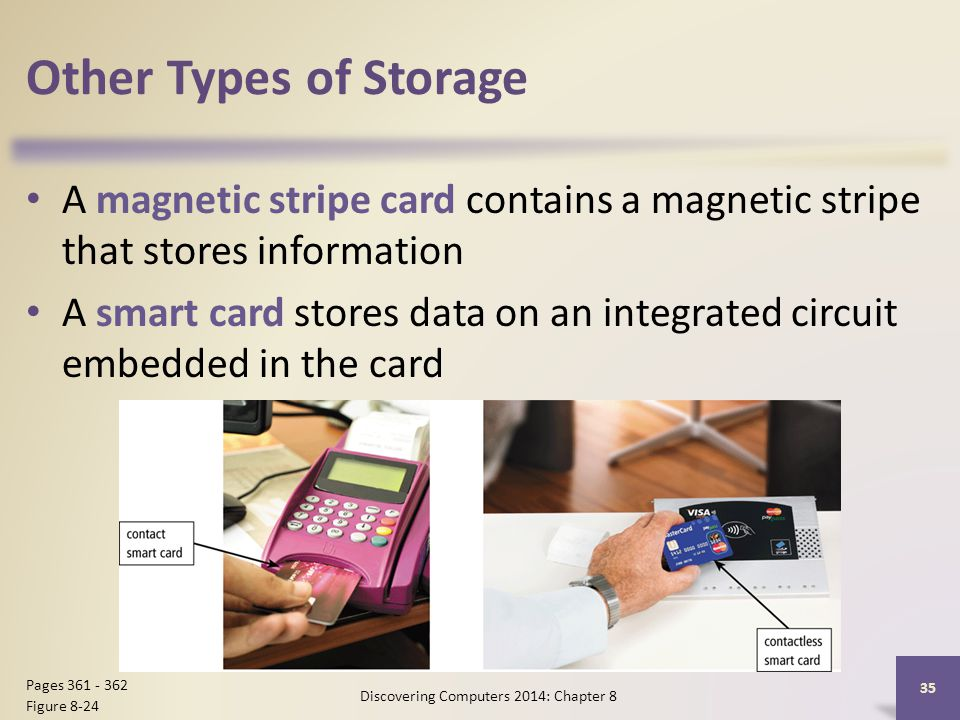 Other Types of Storage A magnetic stripe card contains a magnetic stripe that stores information A smart card stores data on an integrated circuit emb