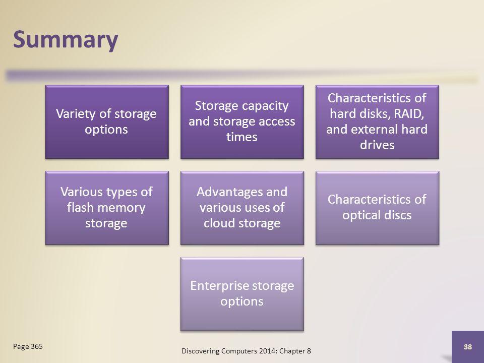Summary Variety of storage options Storage capacity and storage access times Characteristics of hard disks, RAID, and external hard drives Various typ