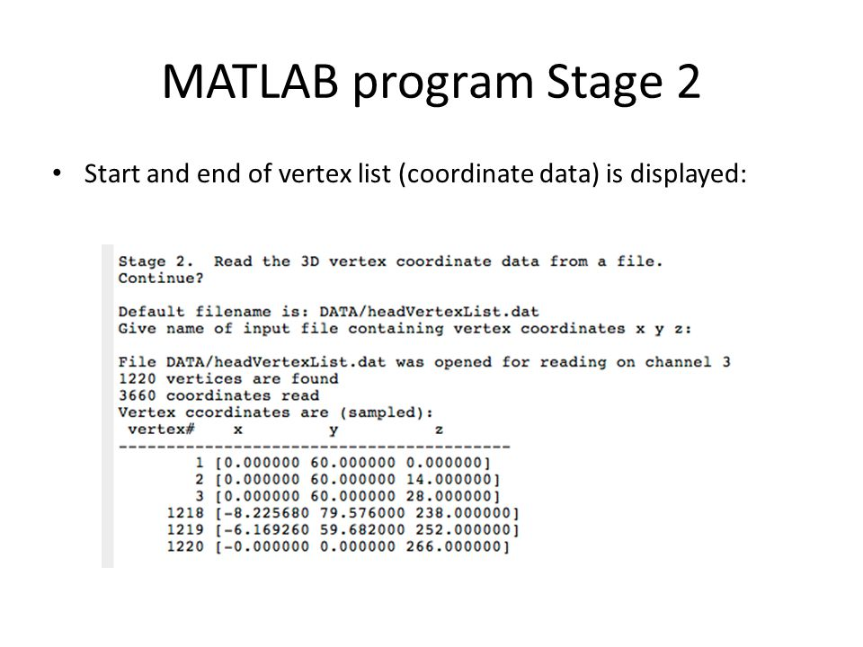 MATLAB program Stage 2 Start and end of vertex list (coordinate data) is displayed:
