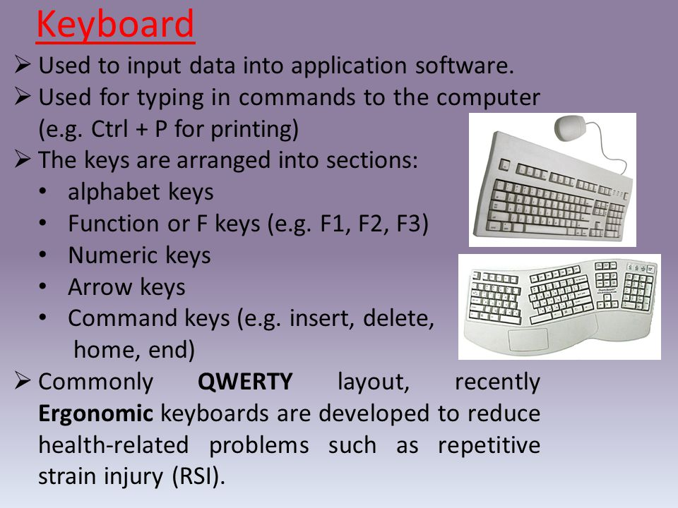 Keyboard  Used to input data into application software.