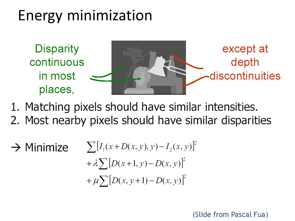 Energy minimization (Slide from Pascal Fua)