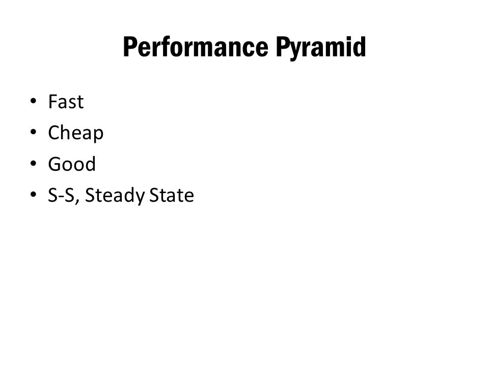 Performance Pyramid Fast Cheap Good S-S, Steady State