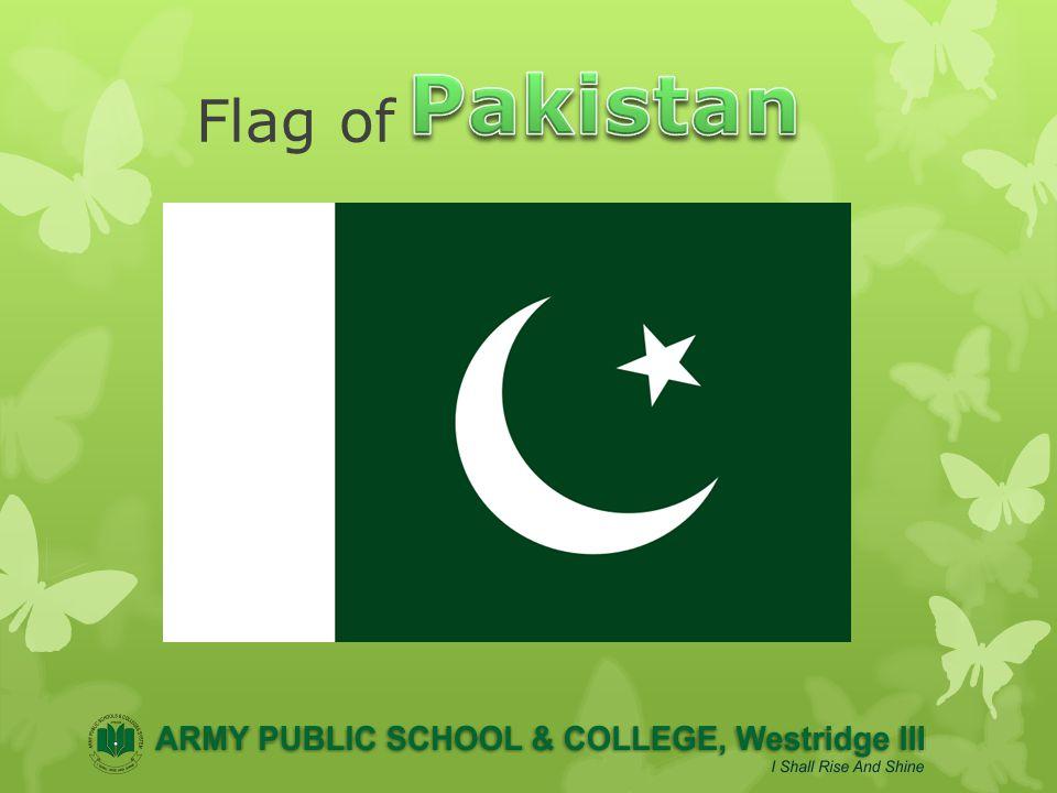 PakistanParc ̱ am-i Sitārah o-Hilāl Name Parc̱am-e Sitārah o-Hilāl (Flag of the Crescent and Star) UseNationalNational flagflag Proportion2:3 AdoptedAugust 11, 1947 DesignA white star and crescent on a dark green field, with a vertical white stripe at the hoist Designed byAmiruddin Kidwai