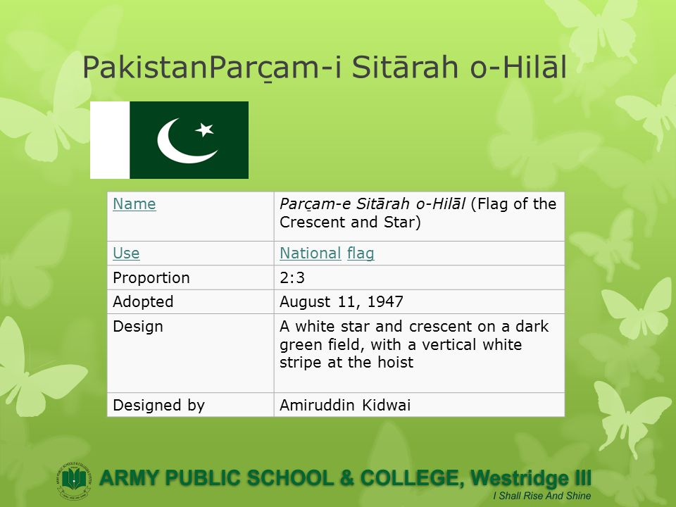 History Of Flag The National Flag of Pakistan was designed by Syed Amir-uddin Kedwaii and was based on the original flag of the Muslim League, which itself drew inspiration from the flag of the Sultanate of Delhi and the Mughal Empire in India.