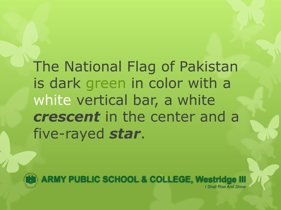 A dark green field represents Islam the Muslim majority of Pakistan and a vertical white stripe in the hoist, represents religious minorities.