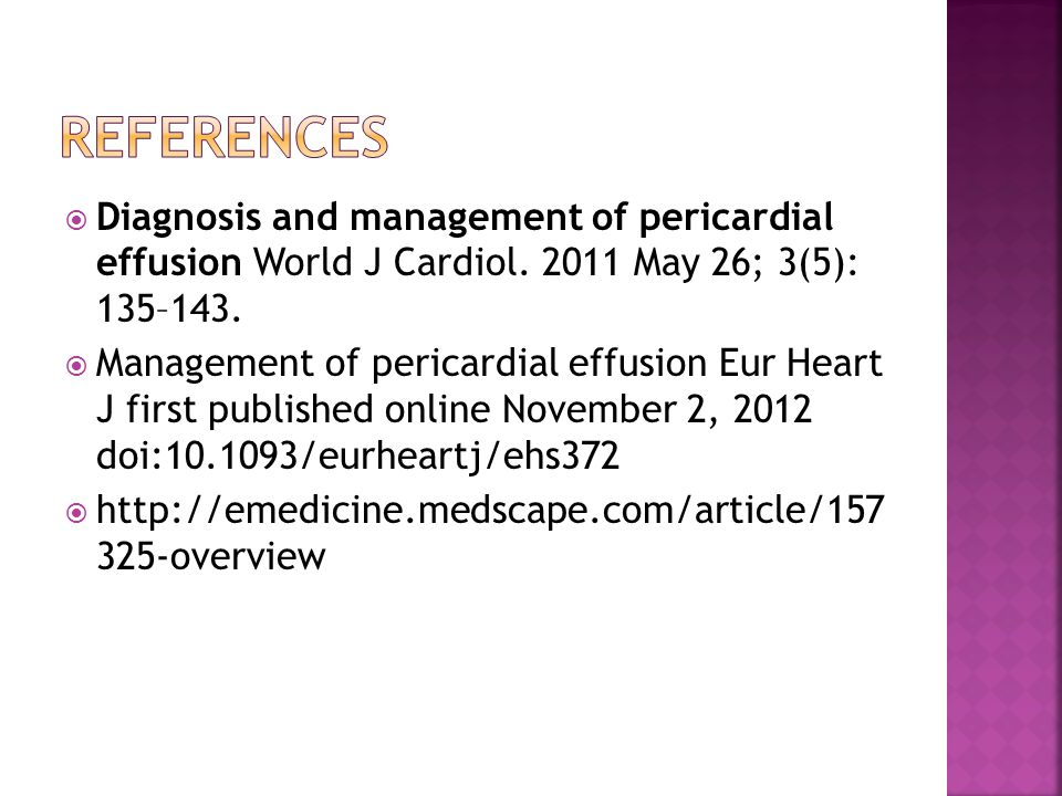  Diagnosis and management of pericardial effusion World J Cardiol.