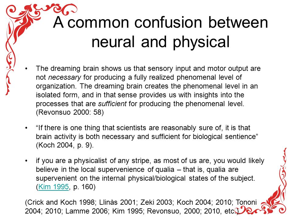 A common confusion between neural and physical The dreaming brain shows us that sensory input and motor output are not necessary for producing a fully realized phenomenal level of organization.
