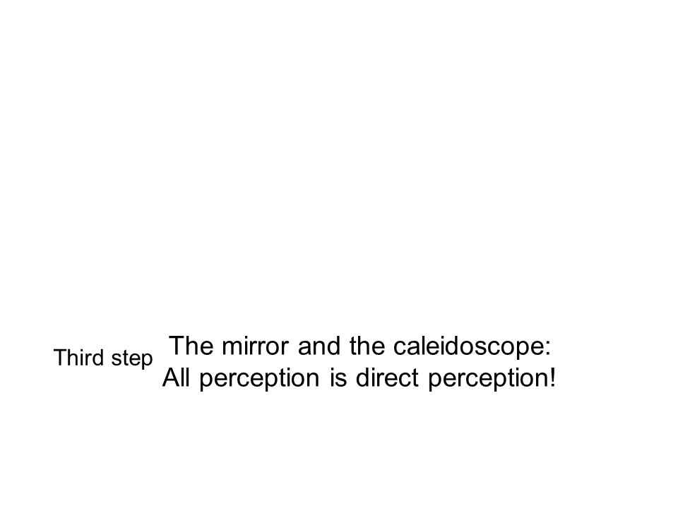 The mirror and the caleidoscope: All perception is direct perception! Third step