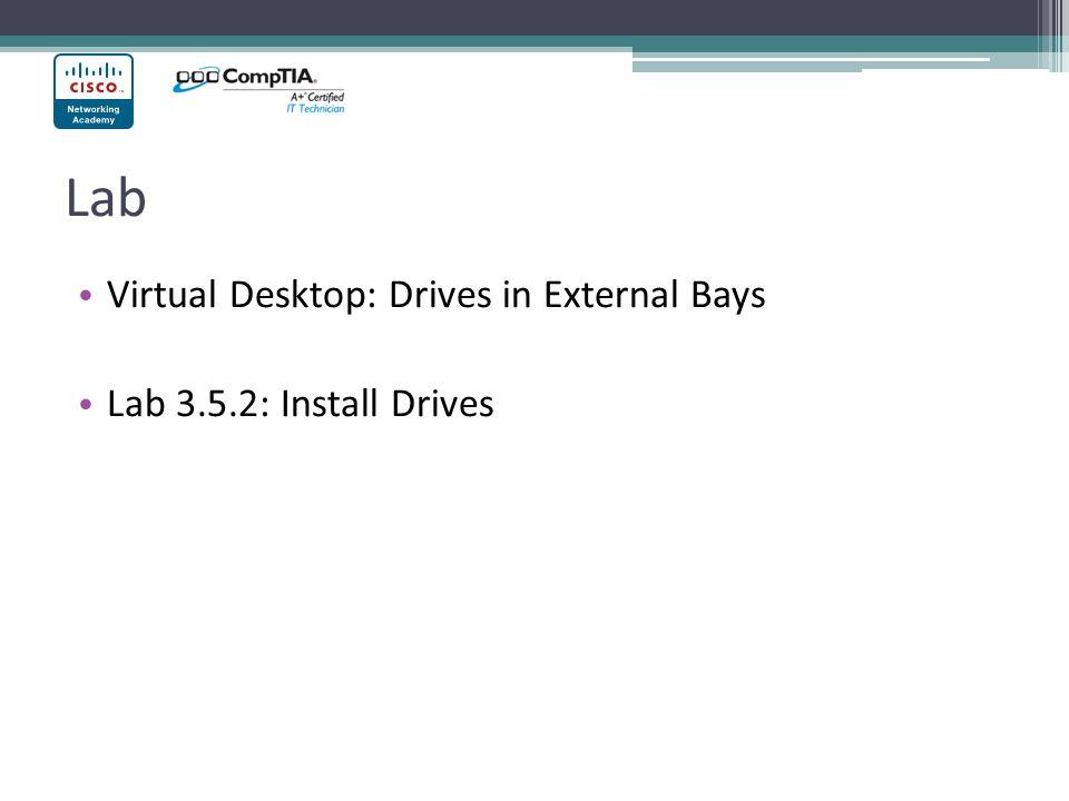 Lab Virtual Desktop: Drives in External Bays Lab 3.5.2: Install Drives
