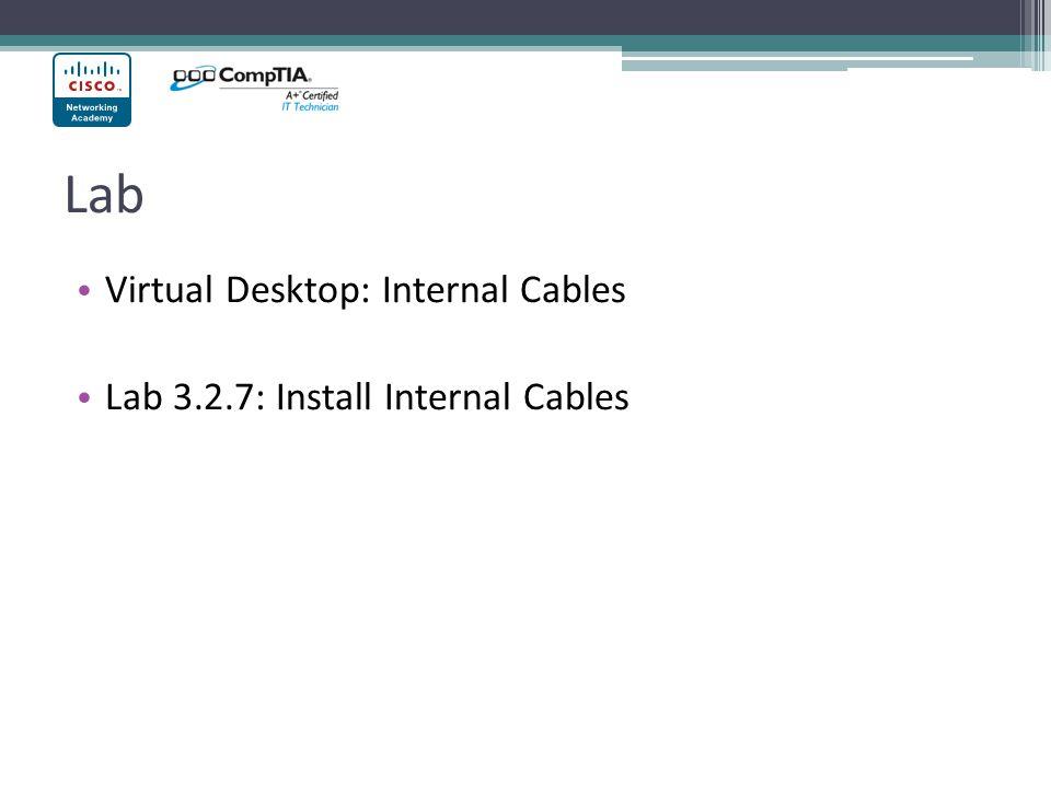 Lab Virtual Desktop: Internal Cables Lab 3.2.7: Install Internal Cables