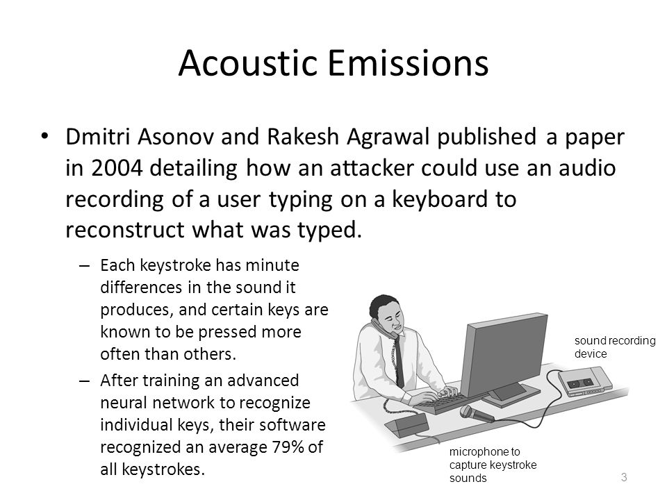 Acoustic Emissions 3 Dmitri Asonov and Rakesh Agrawal published a paper in 2004 detailing how an attacker could use an audio recording of a user typin