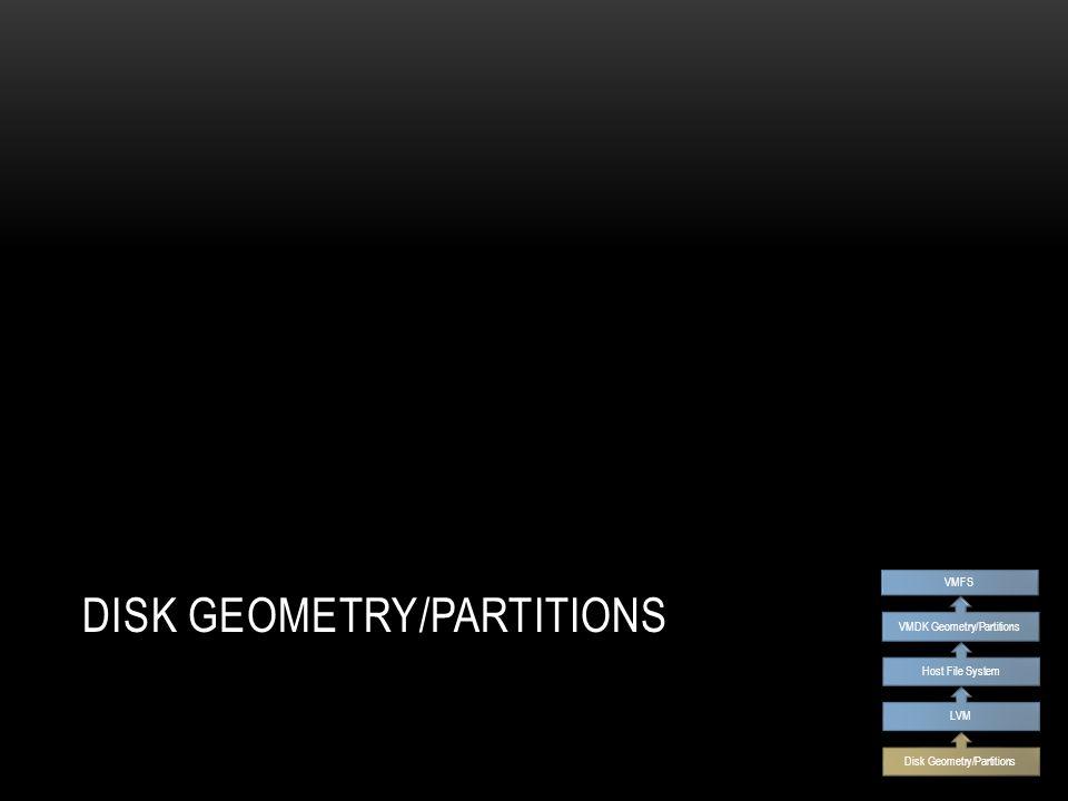 DISK GEOMETRY/PARTITIONS Disk Geometry/Partitions LVM Host File System VMDK Geometry/Partitions VMFS