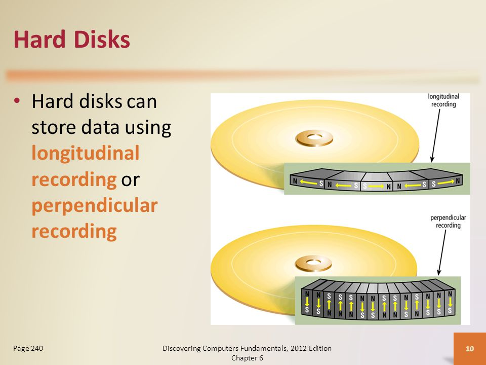 Hard Disks Hard disks can store data using longitudinal recording or perpendicular recording Discovering Computers Fundamentals, 2012 Edition Chapter 6 10 Page 240