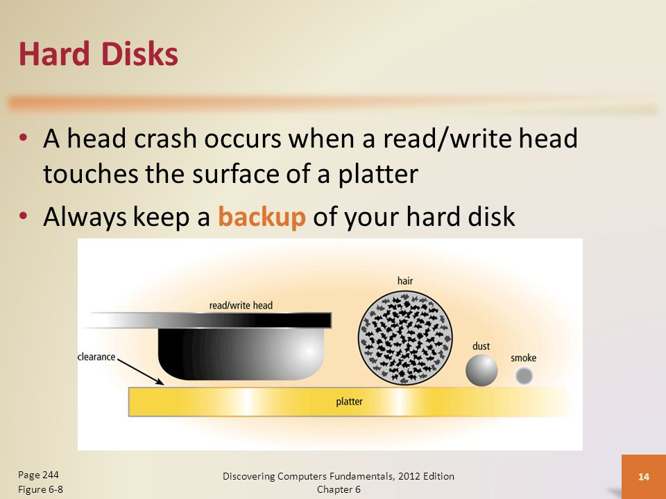 Hard Disks A head crash occurs when a read/write head touches the surface of a platter Always keep a backup of your hard disk Discovering Computers Fu