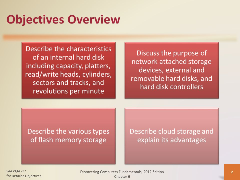 Objectives Overview Describe the characteristics of an internal hard disk including capacity, platters, read/write heads, cylinders, sectors and tracks, and revolutions per minute Discuss the purpose of network attached storage devices, external and removable hard disks, and hard disk controllers Describe the various types of flash memory storage Describe cloud storage and explain its advantages Discovering Computers Fundamentals, 2012 Edition Chapter 6 2 See Page 237 for Detailed Objectives