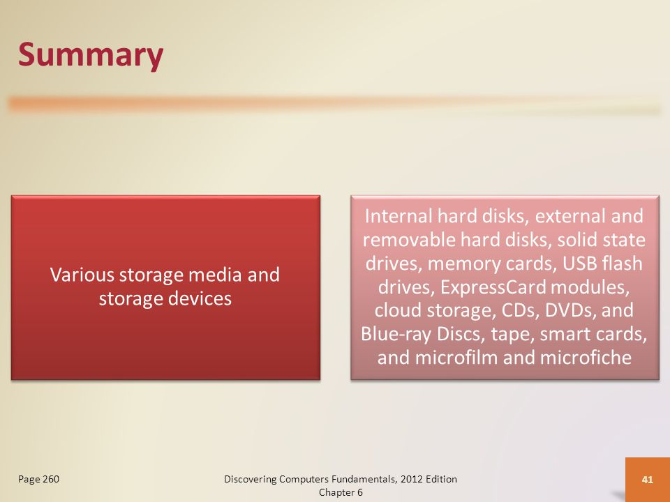 Summary Various storage media and storage devices Internal hard disks, external and removable hard disks, solid state drives, memory cards, USB flash drives, ExpressCard modules, cloud storage, CDs, DVDs, and Blue-ray Discs, tape, smart cards, and microfilm and microfiche Discovering Computers Fundamentals, 2012 Edition Chapter 6 41 Page 260