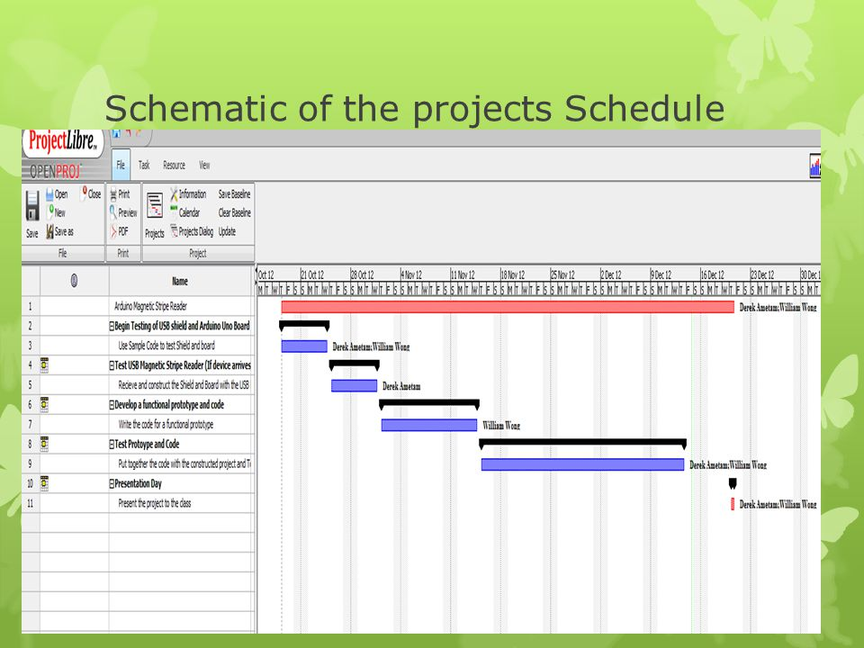 Schematic of the projects Schedule
