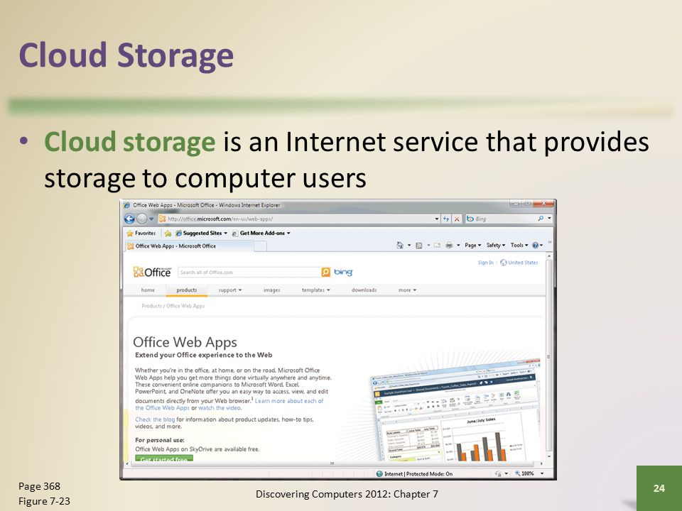 Cloud Storage Cloud storage is an Internet service that provides storage to computer users Discovering Computers 2012: Chapter 7 24 Page 368 Figure 7-23