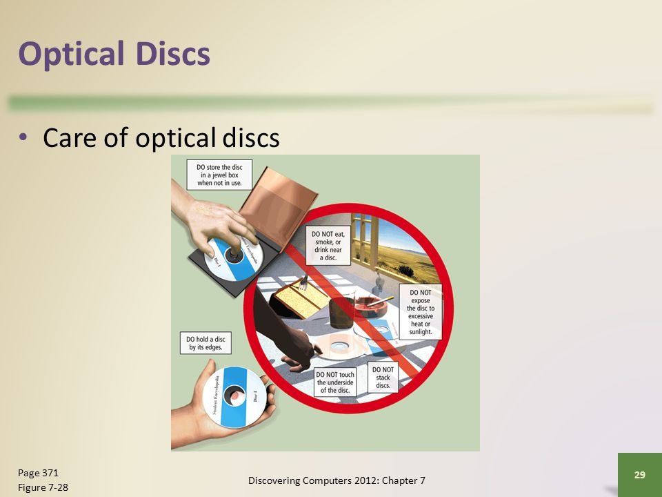 Optical Discs Care of optical discs Discovering Computers 2012: Chapter 7 29 Page 371 Figure 7-28