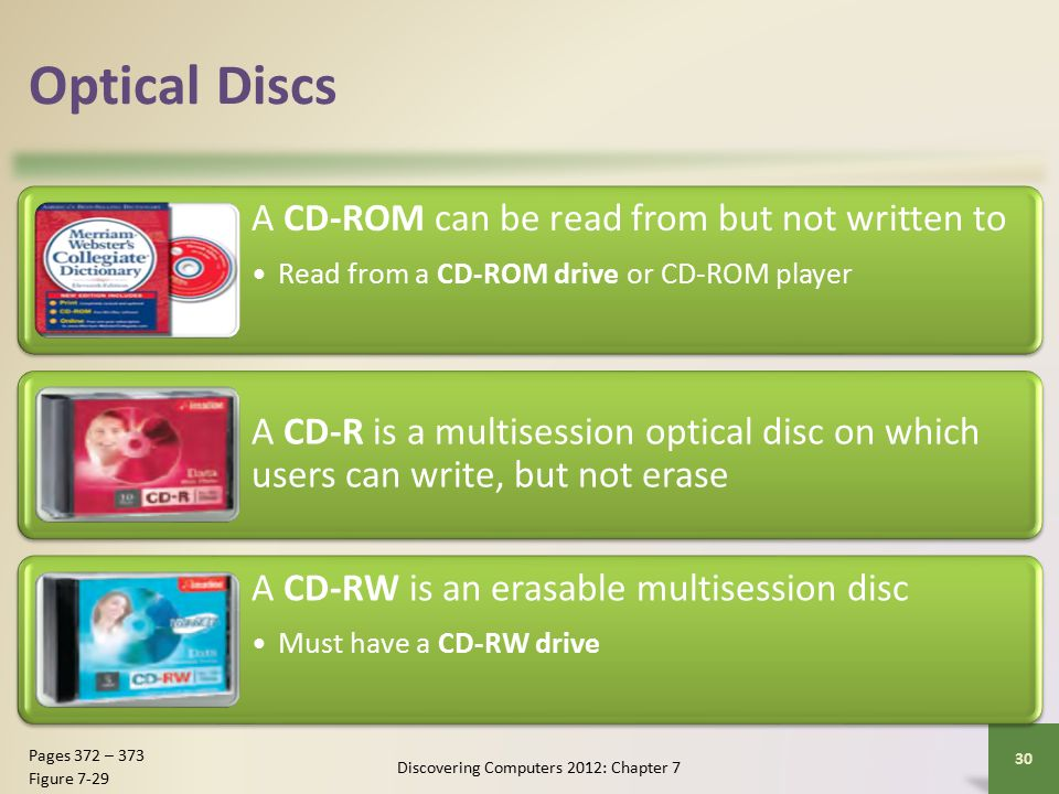 Optical Discs A CD-ROM can be read from but not written to Read from a CD-ROM drive or CD-ROM player A CD-R is a multisession optical disc on which users can write, but not erase A CD-RW is an erasable multisession disc Must have a CD-RW drive Discovering Computers 2012: Chapter 7 30 Pages 372 – 373 Figure 7-29
