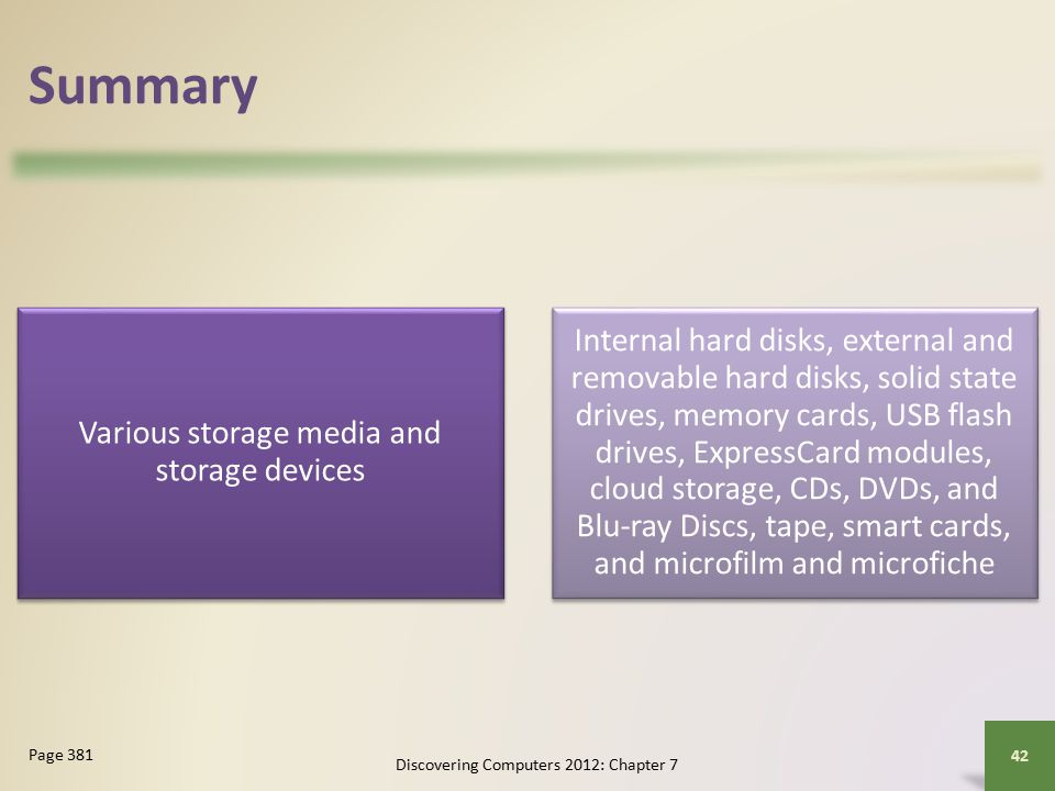 Summary Various storage media and storage devices Internal hard disks, external and removable hard disks, solid state drives, memory cards, USB flash drives, ExpressCard modules, cloud storage, CDs, DVDs, and Blu-ray Discs, tape, smart cards, and microfilm and microfiche Discovering Computers 2012: Chapter 7 42 Page 381