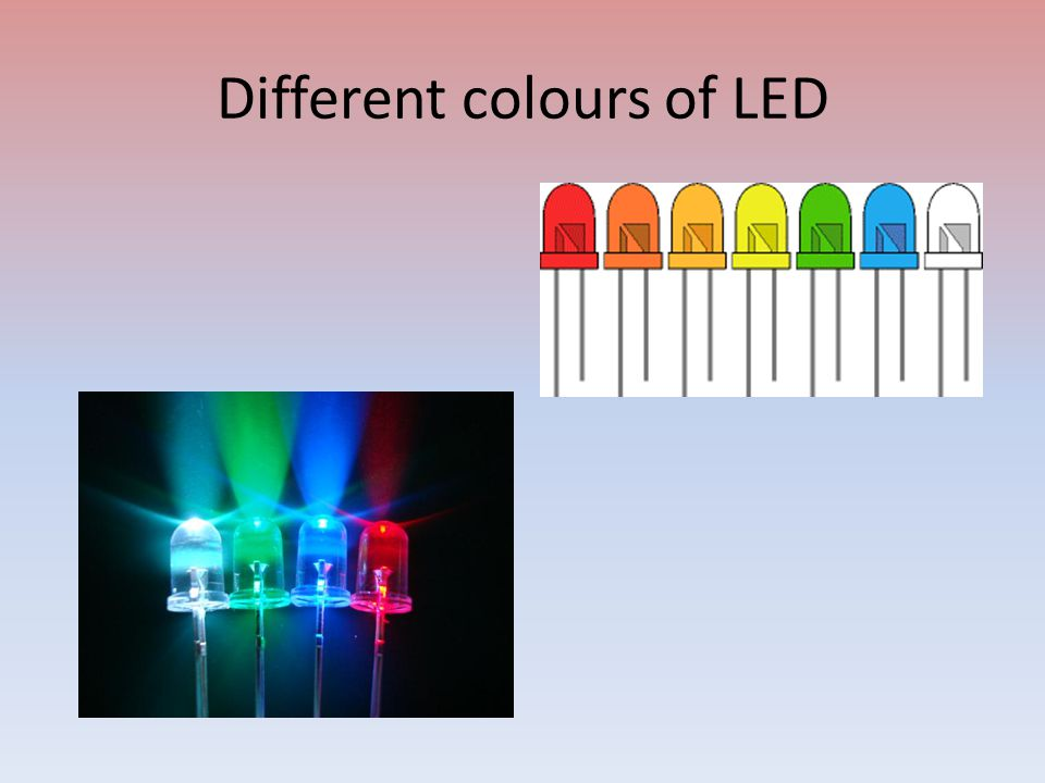 Different colours of LED