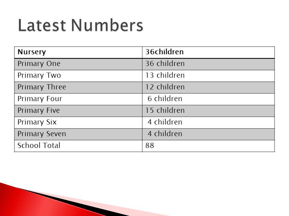 Nursery36children Primary One36 children Primary Two13 children Primary Three12 children Primary Four 6 children Primary Five15 children Primary Six 4 children Primary Seven 4 children School Total88