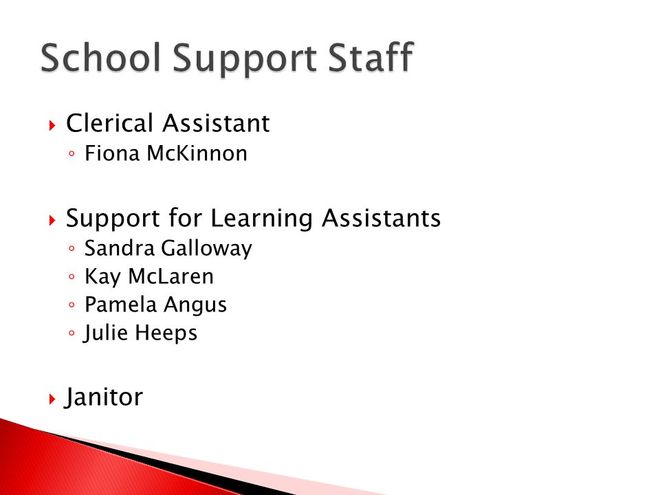  Clerical Assistant ◦ Fiona McKinnon  Support for Learning Assistants ◦ Sandra Galloway ◦ Kay McLaren ◦ Pamela Angus ◦ Julie Heeps  Janitor