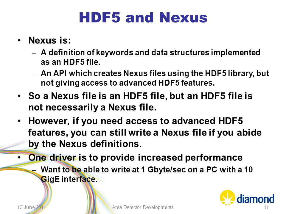 HDF5 and Nexus Nexus is: –A definition of keywords and data structures implemented as an HDF5 file. –An API which creates Nexus files using the HDF5 l