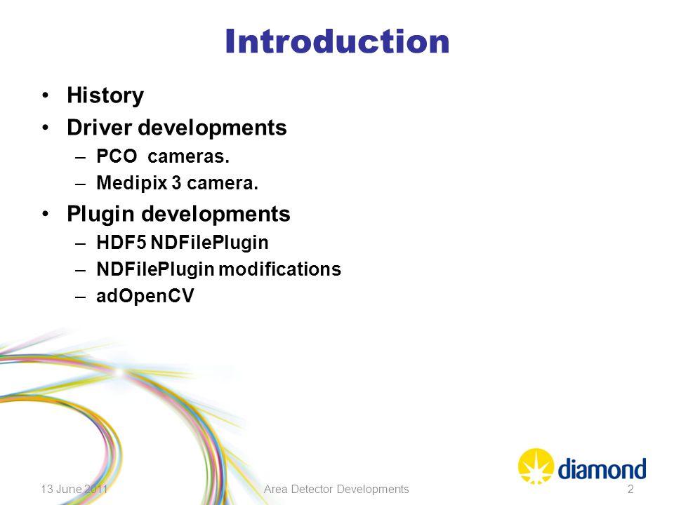 Introduction History Driver developments –PCO cameras. –Medipix 3 camera. Plugin developments –HDF5 NDFilePlugin –NDFilePlugin modifications –adOpenCV