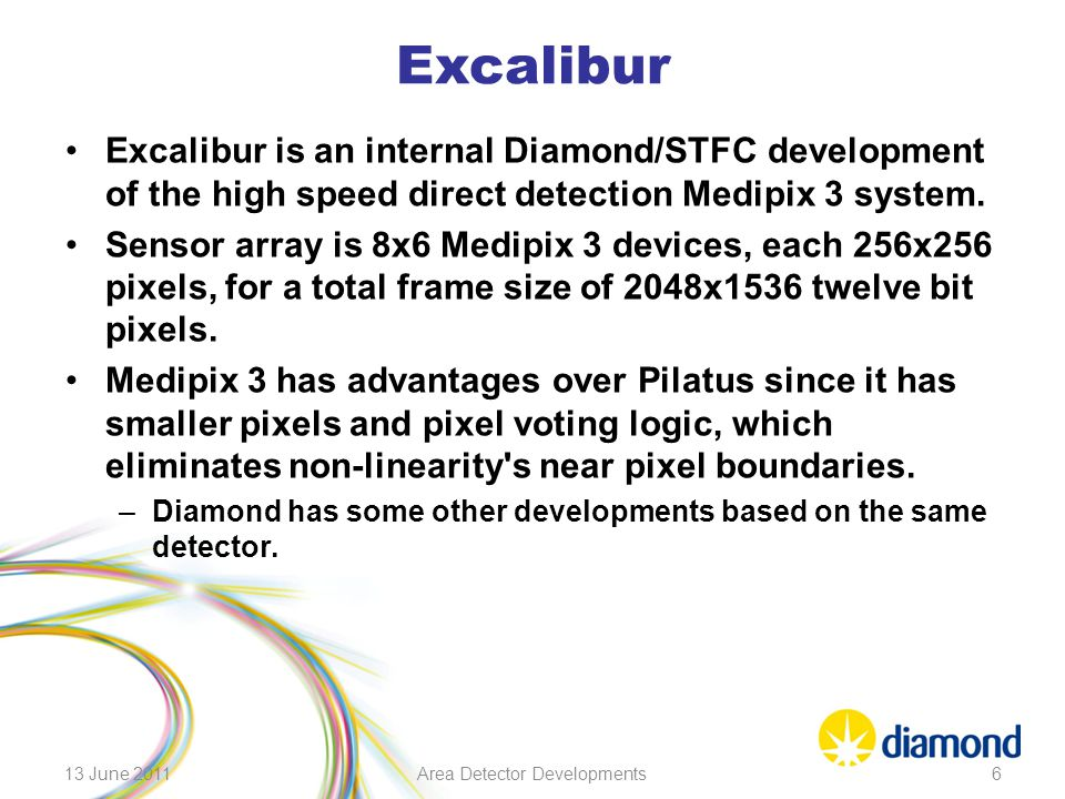 Excalibur Excalibur is an internal Diamond/STFC development of the high speed direct detection Medipix 3 system. Sensor array is 8x6 Medipix 3 devices