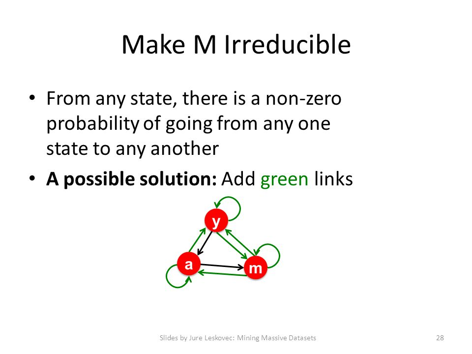 Make M Irreducible From any state, there is a non-zero probability of going from any one state to any another A possible solution: Add green links Slides by Jure Leskovec: Mining Massive Datasets28 y y a a m m