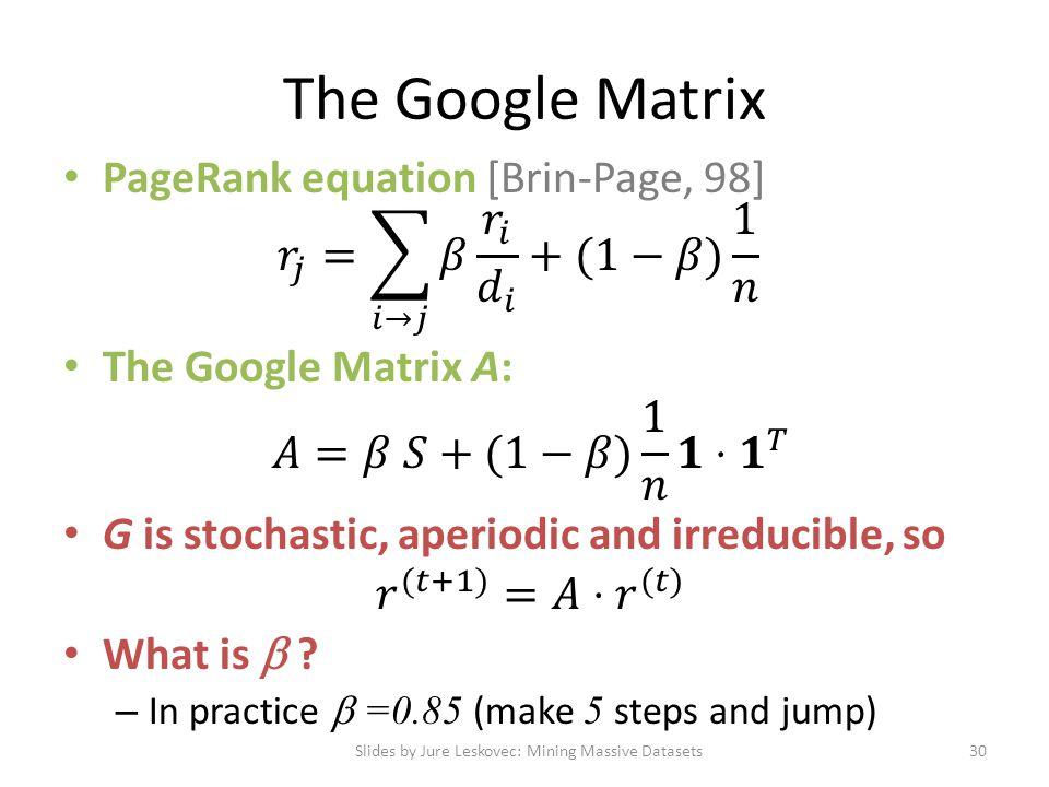 The Google Matrix Slides by Jure Leskovec: Mining Massive Datasets30