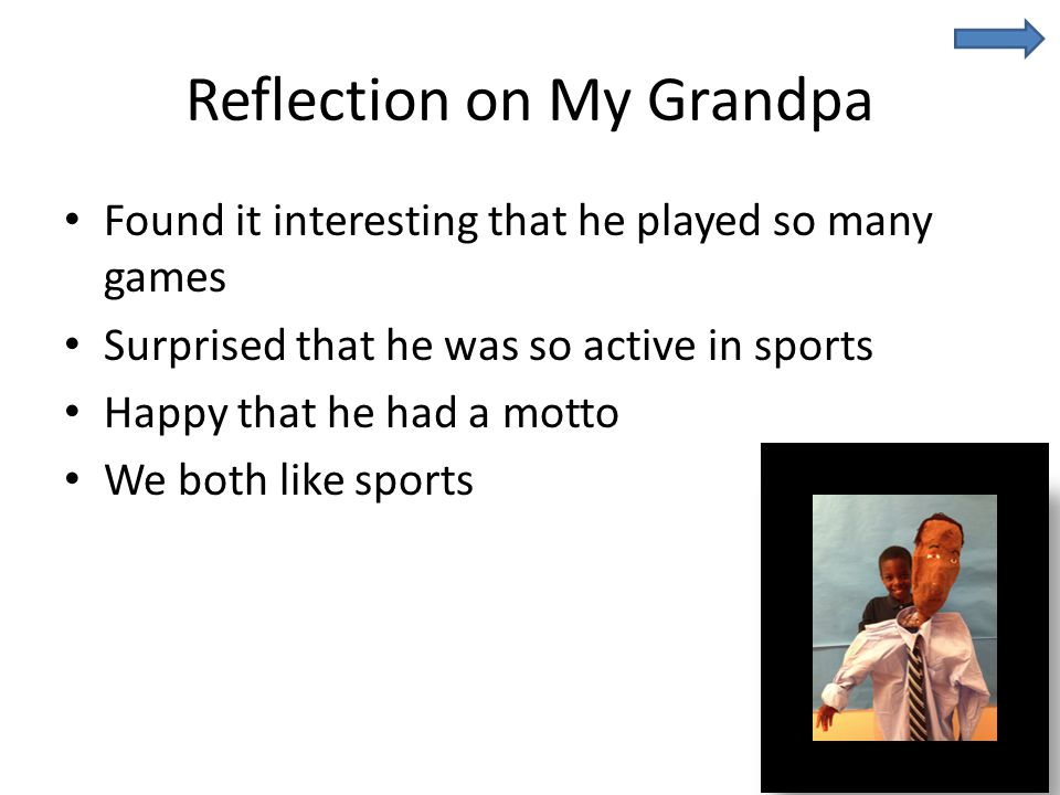 Reflection on My Grandpa Found it interesting that he played so many games Surprised that he was so active in sports Happy that he had a motto We both