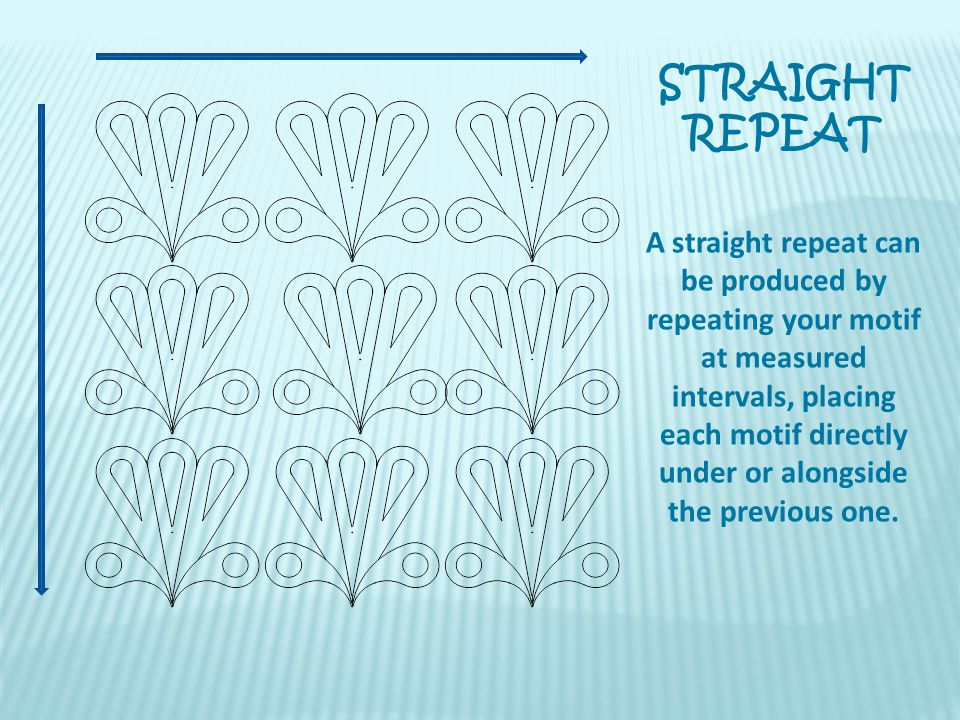 STRAIGHT REPEAT A straight repeat can be produced by repeating your motif at measured intervals, placing each motif directly under or alongside the pr