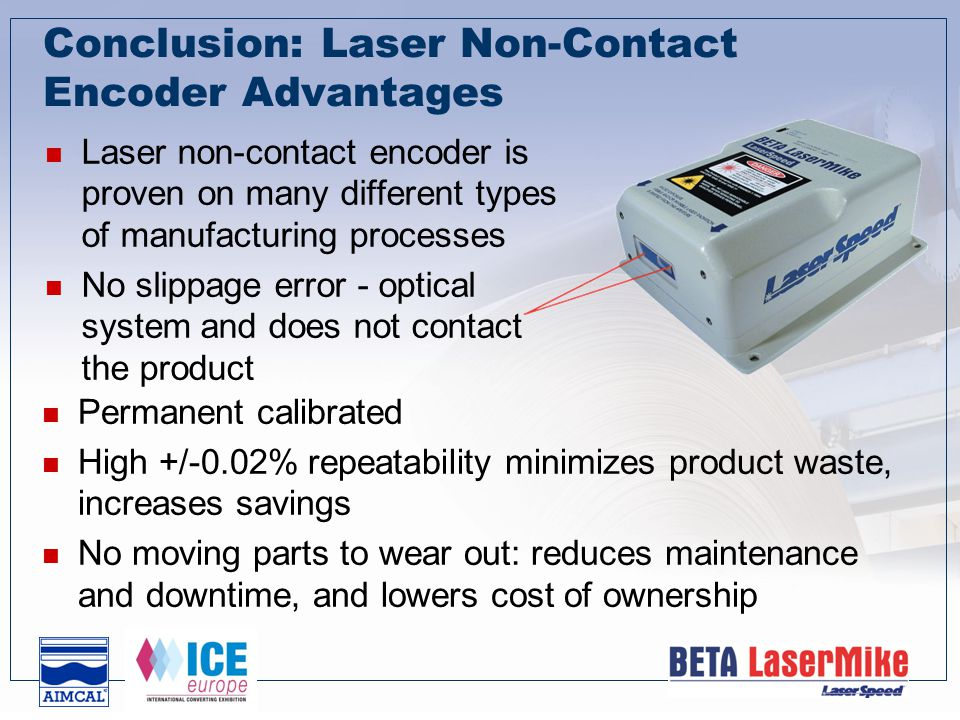Conclusion: Laser Non-Contact Encoder Advantages Laser non-contact encoder is proven on many different types of manufacturing processes No slippage error - optical system and does not contact the product Permanent calibrated High +/-0.02% repeatability minimizes product waste, increases savings No moving parts to wear out: reduces maintenance and downtime, and lowers cost of ownership