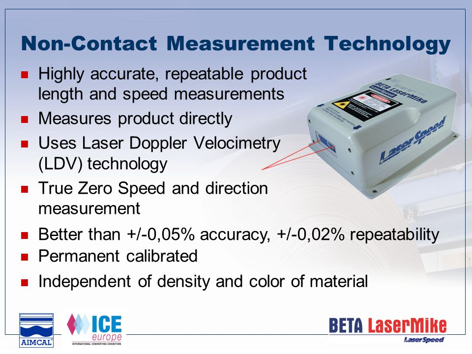 Non-Contact Measurement Technology Highly accurate, repeatable product length and speed measurements Measures product directly Uses Laser Doppler Velocimetry (LDV) technology True Zero Speed and direction measurement Better than +/-0,05% accuracy, +/-0,02% repeatability Permanent calibrated Independent of density and color of material