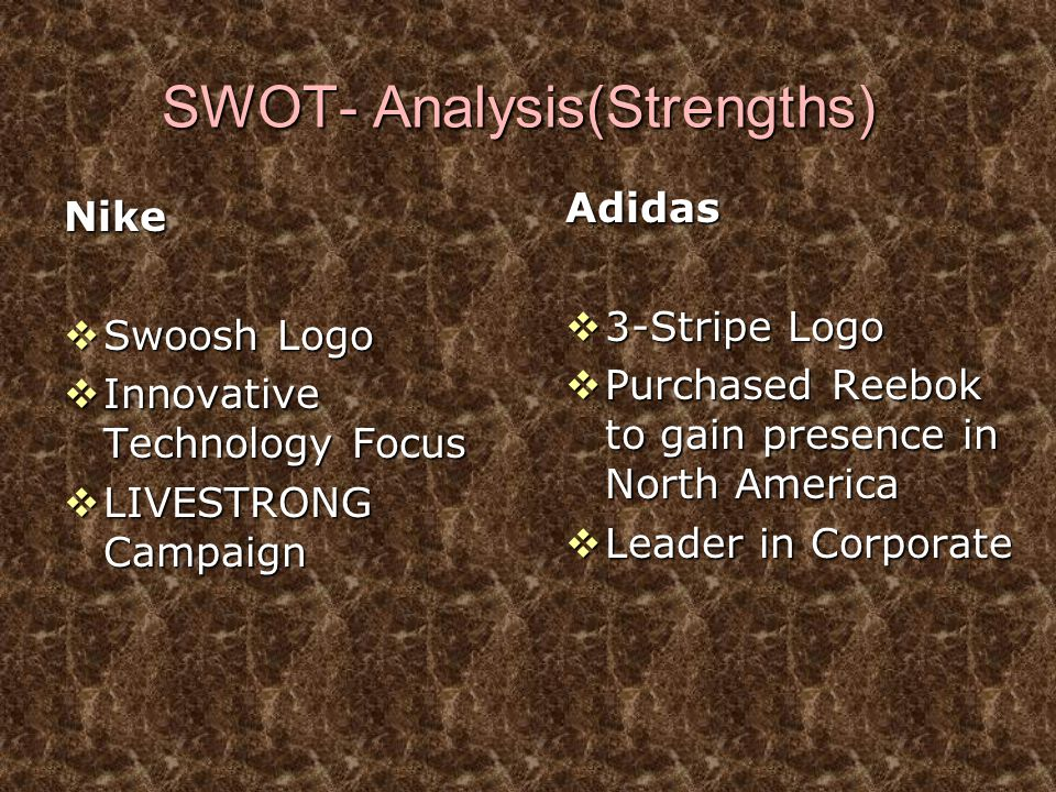 SWOT- Analysis(Strengths) Nike  Swoosh Logo  Innovative Technology Focus  LIVESTRONG Campaign Adidas  3-Stripe Logo  Purchased Reebok to gain pre