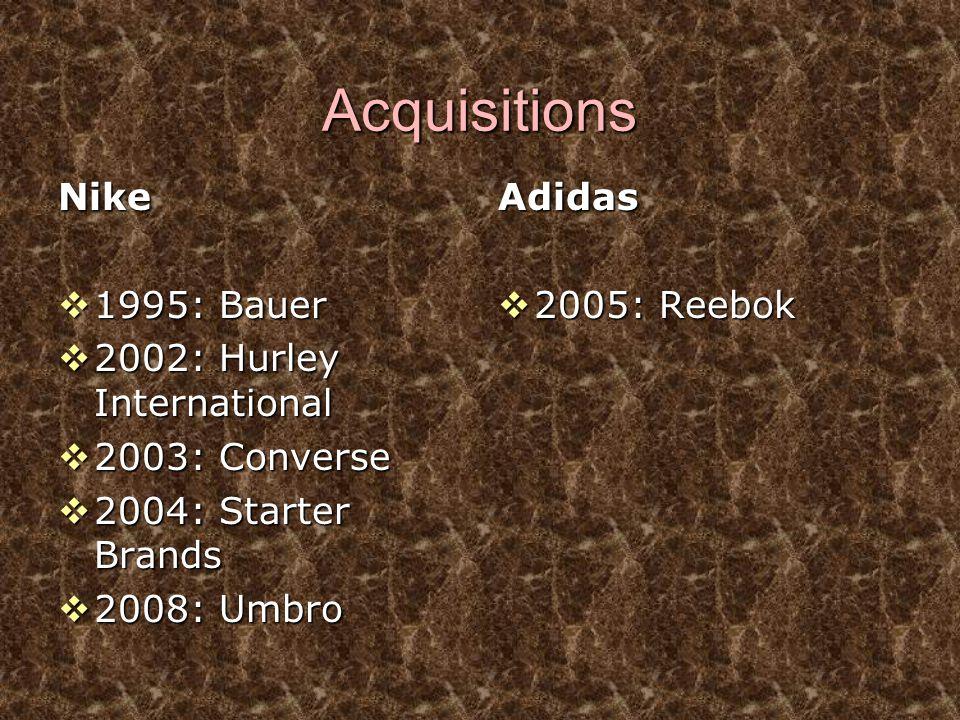Acquisitions Nike  1995: Bauer  2002: Hurley International  2003: Converse  2004: Starter Brands  2008: Umbro Adidas  2005: Reebok