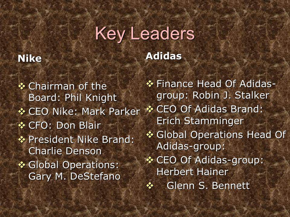 Key Leaders Nike  Chairman of the Board: Phil Knight  CEO Nike: Mark Parker  CFO: Don Blair  President Nike Brand: Charlie Denson  Global Operati