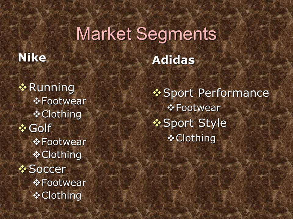 Market Segments Nike  Running  Footwear  Clothing  Golf  Footwear  Clothing  Soccer  Footwear  Clothing Adidas  Sport Performance  Footwear