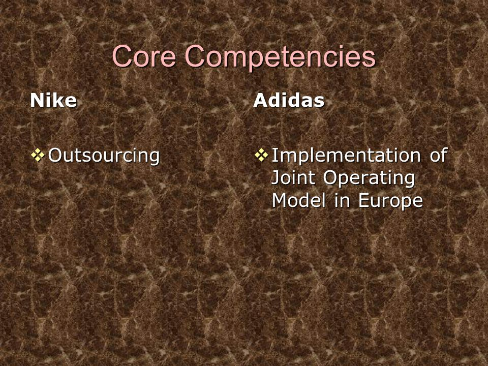 Core Competencies Nike  Outsourcing Adidas  Implementation of Joint Operating Model in Europe