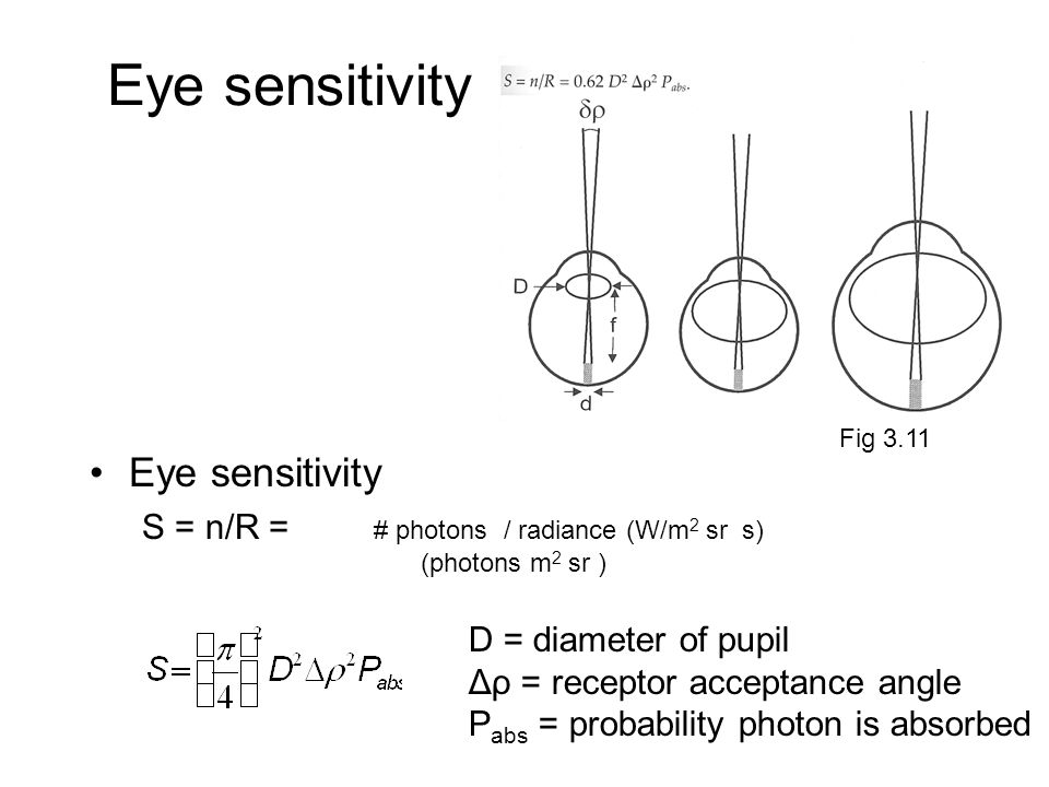 Eye sensitivity S = n/R = # photons / radiance (W/m 2 sr s) (photons m 2 sr ) Fig 3.11 D = diameter of pupil Δρ = receptor acceptance angle P abs = pr