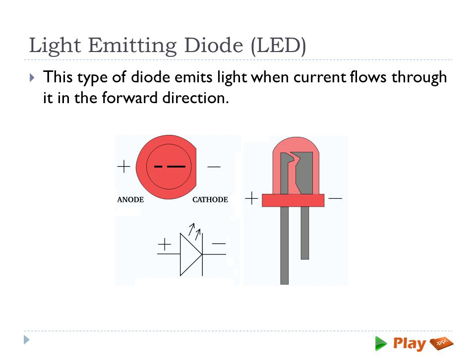 Light Emitting Diode (LED)  This type of diode emits light when current flows through it in the forward direction.