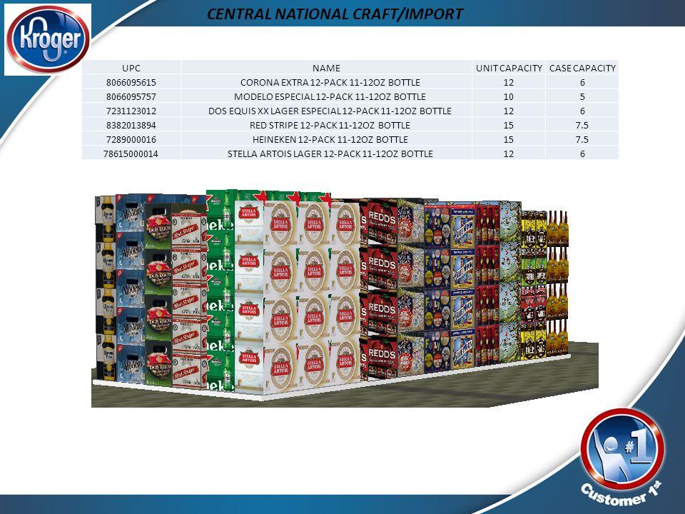 CENTRAL NATIONAL CRAFT/IMPORT UPCNAMEUNIT CAPACITYCASE CAPACITY 8066095615 CORONA EXTRA 12-PACK 11-12OZ BOTTLE126 8066095757 MODELO ESPECIAL 12-PACK 1