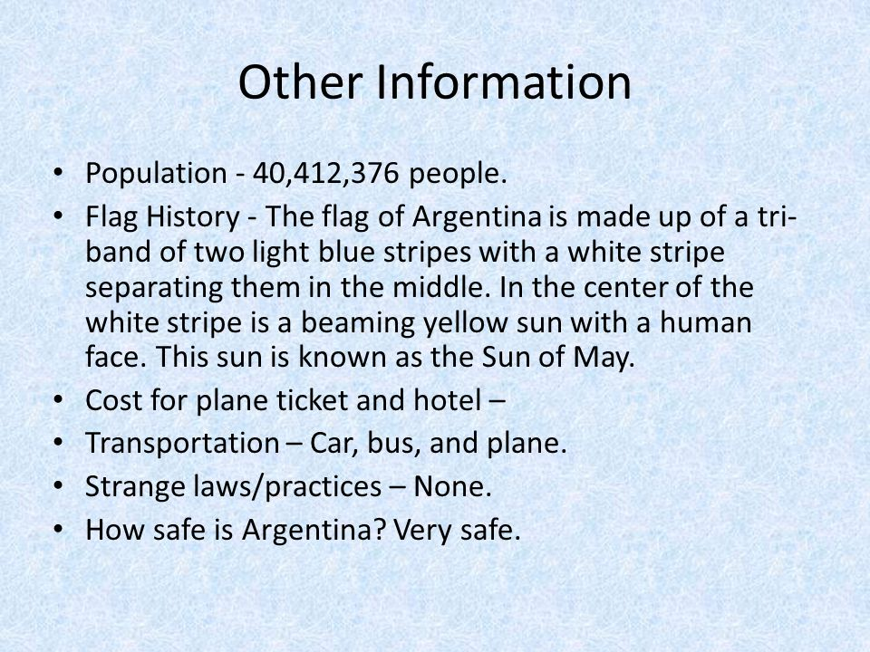 Other Information Population - 40,412,376 people.