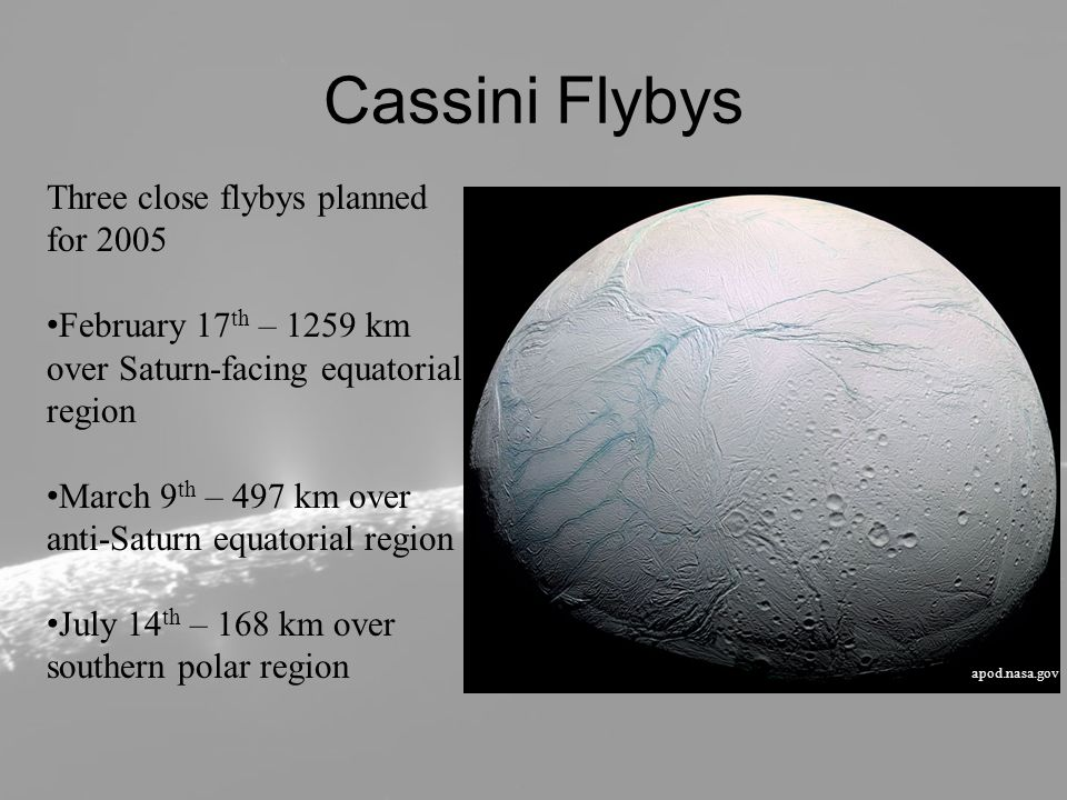 Cratering Highest variety in crater count among Saturnian objects Heaviest cratering in isolated areas outside of SPT surrounded by troughs and fracturing Lowest cratering within SPT, with no craters >1km Scaled impactor flux from Iapetus to Enceladus Two scenarios: both show discrete ages of different terrains