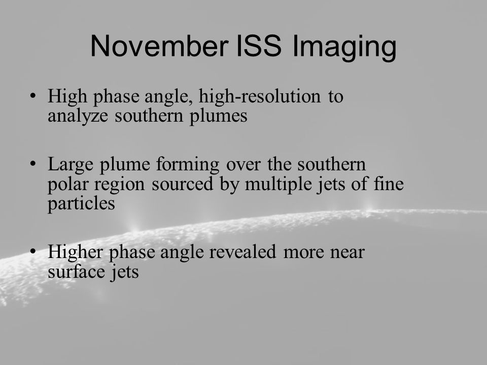 Particle Plume One large plume was discovered prior to November ISS imaging Higher angle imaging discovered numerous near surface jets supplying a much larger fainter plume Particles visible only at high angle indicate fine forward-scattering particles Absolute brightness from ISS imaging determined particle density with altitude and particle escape rate Best fit has mean velocity of 60m s -1 ~1% of upward moving particles supply E-ring Particles supplying the E-ring have a mean velocity of 90m s -1 upon leaving Enceladus